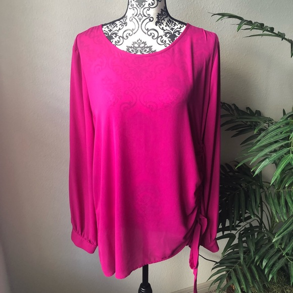 Halogen Tops - Halogen Ruched Fuchsia Blouse